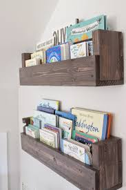 Interactive Accessories For Baby Nursery Room Decoration Using Mounted Wall Rustic Solid Cherry Wood Bookshelf