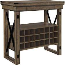 Forest Grove 24 Bottle Rustic Gray Wood Veneer Bar Cabinet