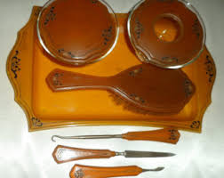 Celluloid Vanity Dresser Set by Celluloid Hair Amber Etsy
