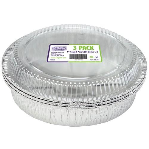 "Nicole Home Collection 9"" Aluminum Round Pan with Dome Lid - 3 Count"