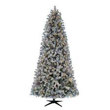 9 Ft Pre Lit LED Flocked Lexington Pine Artificial Christmas Tree With 500 Warm