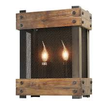 lnc rustic wood 2 light indoor wall sconce for living room