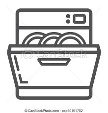 Dishwasher Line Icon Kitchen And Appliance Vector Graphics A Linear Pattern On White Background Eps 10