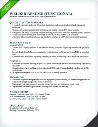 Skill Summary Resume Examples Welder Functional Qualifications Customer Service