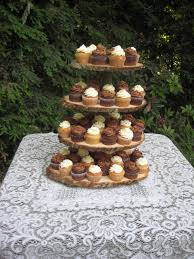 Cupcake Stand Rustic Wedding Log Slices 4 Tier