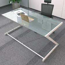 Tempered Glass Computer Desk by China Tempered Glass Computer Desk With Z Shaped Metal In Black