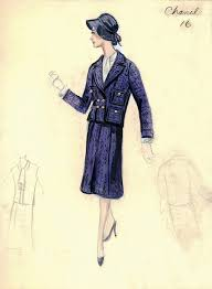 1950s Coco Chanel Style The Post War Still Exuded Her Simplistic Elegance While Vintage Fashion SketchesFashion