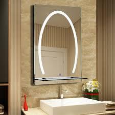 details zu kleankin led badezimmerspiegel badspiegel mit beleuchtung glas ablage 70x50cm
