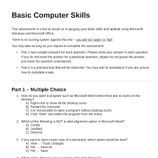 How To Word Your Computer Skills On A Resume by Basic Computer Skills Assessment 1407 Pdf Docdroid
