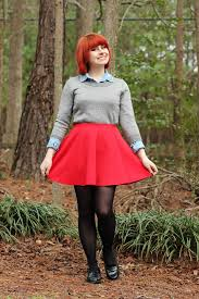 Red Skater Skirt Silver Sweater Over A Denim Button Down Black Tights And