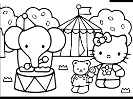 Hello Kitty Friends And Elephant Circus Coloring Pages