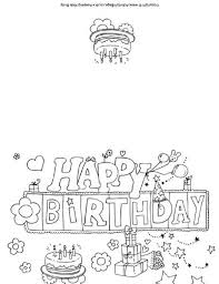 Coloring Birthday Cards Happy Colouring Card Free Pages