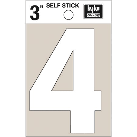 Self-Adhesive Vinyl Number-4, White, 3""