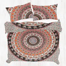 Orange Black Round Elephant Mandala Duvet Cover Queen Shri Mandala
