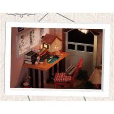 Topacc Cuteroom DIY Wooden Dollhouse Miniature Kit Doll House LED