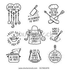 Hand Drawn Kitchen Quotes Set Phrases And Funny Sayings About Cooking Food Wall Decor