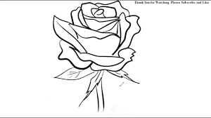 How To Draw A Rose Flower Easy Line Drawing Sketch