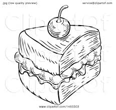 Clipart of a Black and White Vintage Engraved Slice of Jam and Cream Victoria Sponge Cake Royalty Free Vector Illustration by AtStockIllustration