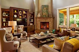 Example Of A Transitional Living Room Design In Portland With Corner Fireplace