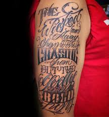 Bible Quote Tattoo On Girl Left Back Shoulder
