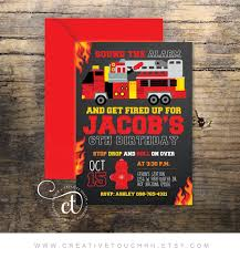 Firefighter Birthday Invitation Firefighter Invitation | Etsy