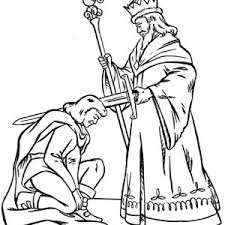 King Blessing Knight Before War In Middle Ages Coloring Page
