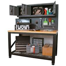 Broom Cabinets Home Depot by Homak Garage Series 5 Ft Industrial Steel Workbench With Cabinet
