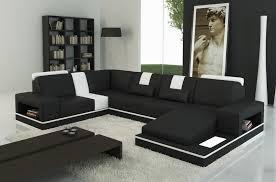 canapé d angle en cuir italien 6 7 places sublimo noir et blanc