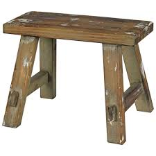 Rustic Wood Plank Cottage Style Milking Stool Squat