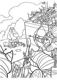 Kung Fu Panda Po Surrounded By Enemy In Coloring Page