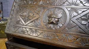 Governor Winthrop Desk Furniture by Antique Oak Carved Green Man Lion Mask Gothic Writing Desk