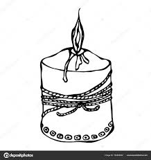 Fat Burning Candle with Ribbon Ink Vector Illustration Isolated a White Background Doodle Cartoon