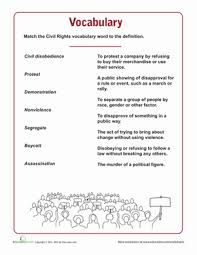 Fifth Grade Reading Writing Worksheets Civil Rights Vocabulary