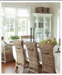 Classic Timeless Wicker Highback Dining Room Chairs Vintage Beach Cottage Coastal Living Florida Style White Crisp And Clean