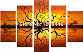 Big Size Hand Painted Modern Abstract Tree Root Canvas Oil Paintings For Living Room Wall Picture