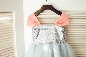 silver sequin gray tulle wedding flower girl dress coral