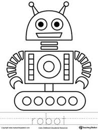 Robot Coloring Page And Word Tracing Frog PagesKids