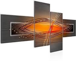 runa wandbild wohnzimmer abstrakt grau orange schwarz 4