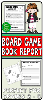 Board Game Book Report Design A Based On Fiction
