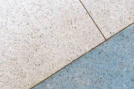 Terrazzo Flooring Background White And Blue Tone Copper Line Stock