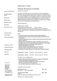Human Resources Assistant Resume Hr Example Sample Employment Work Duties Cover Letter Office Job Examples Manager