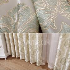 green living room curtains of polyester and fiber