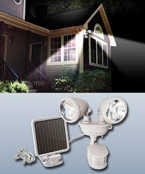 solar powered dual security spot lights white