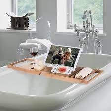 luxury bamboo bathtub caddy organizer w book tablet holder