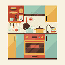 Kitchen Clipart Interior Room Pencil And In Color Music