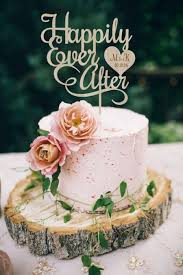 Happily Ever After Wedding Cake Topper Rustic Personalized Wood Silver Gold