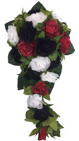 Red White And Black Silk Rose Cascade