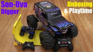 Hot Wheels: New Bright RC Monster Jam Truck Son-Uva Digger 360 ... New Bright Monster Jam Radio Control And Ndash Grave Digger Remote Truck G V Rc Car Jams Amazoncom 124 Colors May Vary Gizmo Toy 18 Rc Ff Pro Scorpion 128v Battery Rb Grave Digger 115 Scalefreaky Review All Chrome Scale Mega Blast Trucks Triangle By Youtube 1530 Pops Toys New Bright Big For Monster Extreme Industrial Co