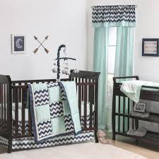 playful wave patchwork crib starter set in mint navy