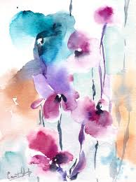 Abstract Floral Painting Bright Colors Art ORIGINAL Watercolor Modern Watercolour